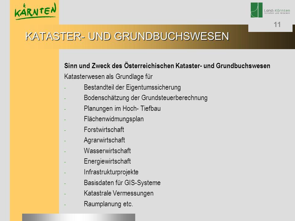 11 Sinn und Zweck des Österreichischen Kataster- und Grundbuchswesen Katasterwesen als Grundlage für - Bestandteil der Eigentumssicherung - Bodenschät