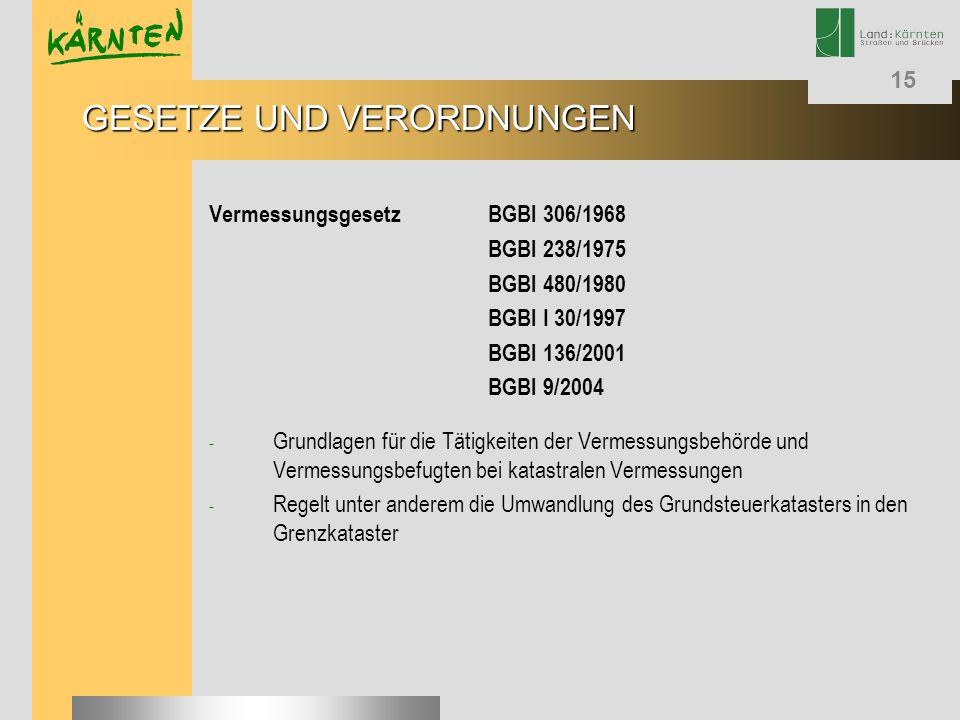 15 VermessungsgesetzBGBl 306/1968 BGBl 238/1975 BGBl 480/1980 BGBl I 30/1997 BGBl 136/2001 BGBl 9/2004 - Grundlagen für die Tätigkeiten der Vermessung