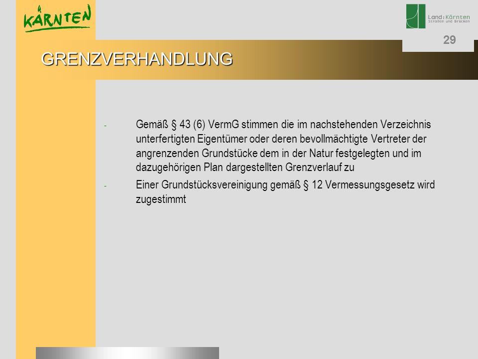 29 - Gemäß § 43 (6) VermG stimmen die im nachstehenden Verzeichnis unterfertigten Eigentümer oder deren bevollmächtigte Vertreter der angrenzenden Gru
