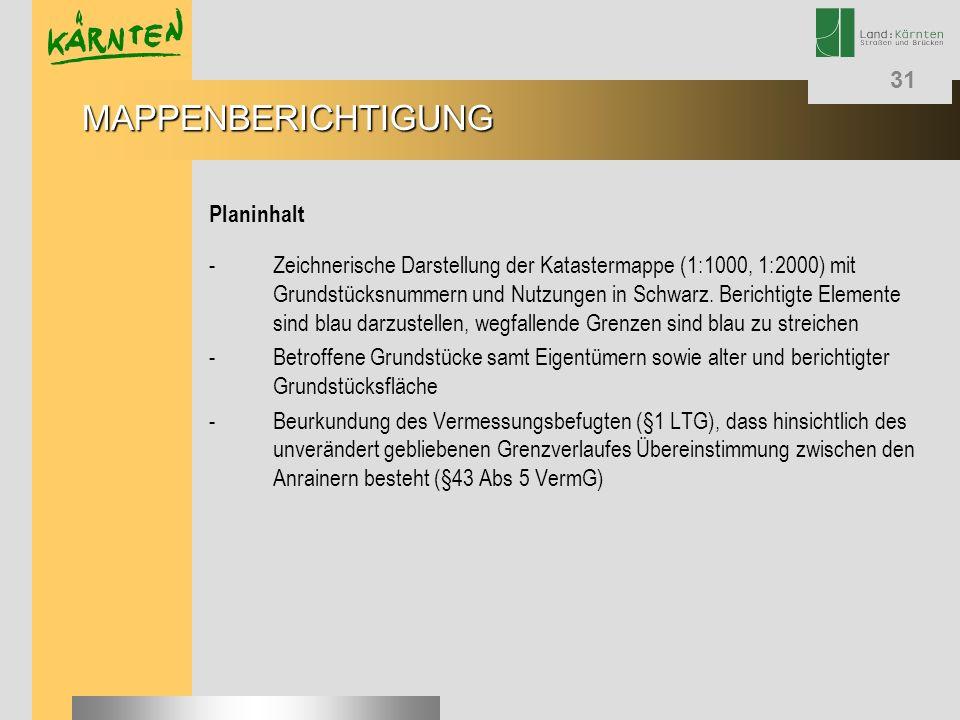 31 Planinhalt - Zeichnerische Darstellung der Katastermappe (1:1000, 1:2000) mit Grundstücksnummern und Nutzungen in Schwarz. Berichtigte Elemente sin