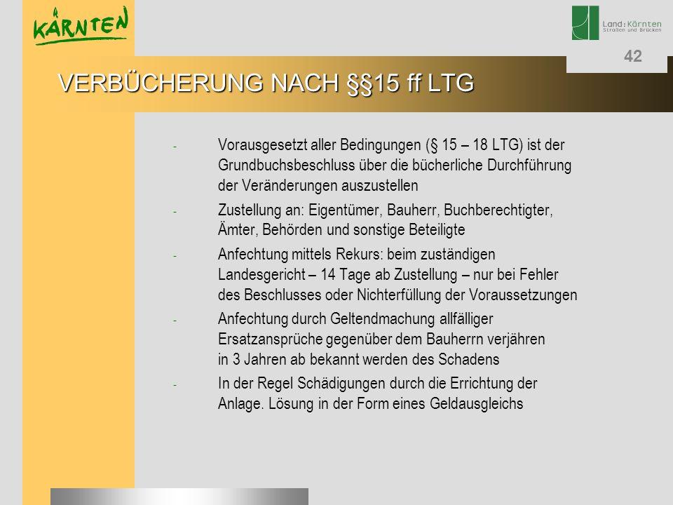 42 - Vorausgesetzt aller Bedingungen (§ 15 – 18 LTG) ist der Grundbuchsbeschluss über die bücherliche Durchführung der Veränderungen auszustellen - Zu