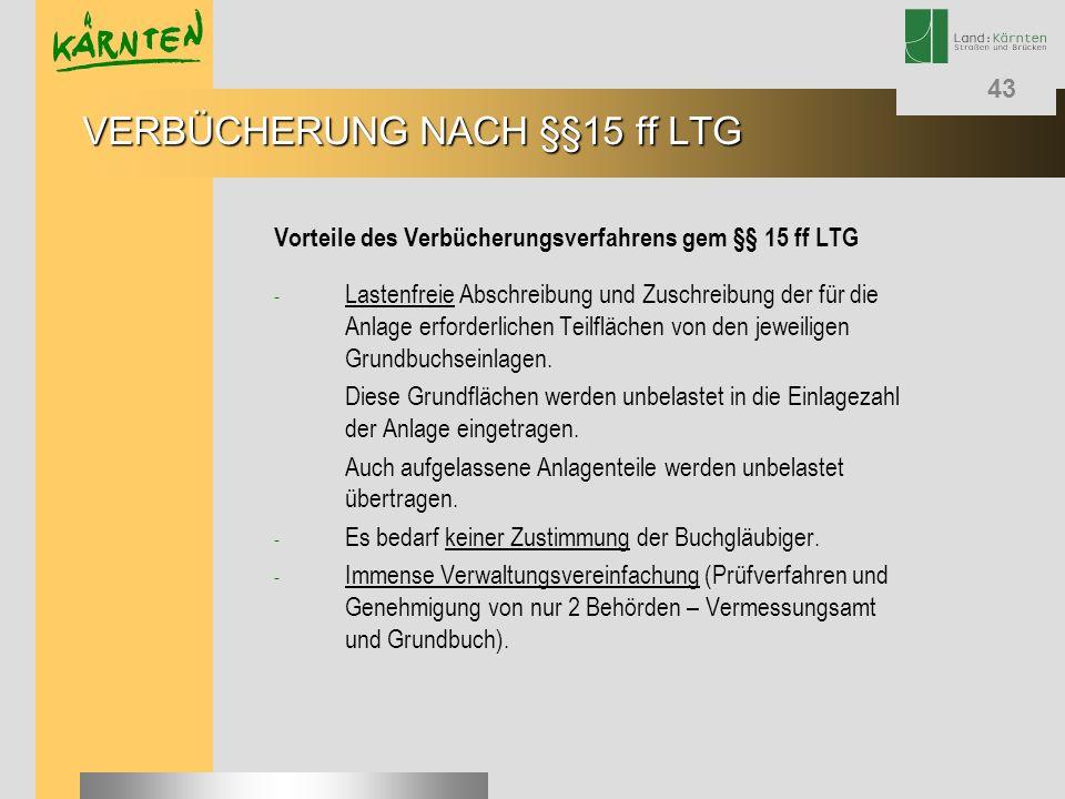 43 Vorteile des Verbücherungsverfahrens gem §§ 15 ff LTG - Lastenfreie Abschreibung und Zuschreibung der für die Anlage erforderlichen Teilflächen von