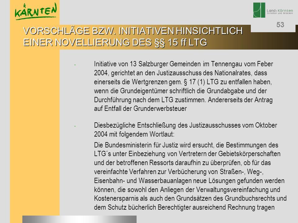 53 - Initiative von 13 Salzburger Gemeinden im Tennengau vom Feber 2004, gerichtet an den Justizausschuss des Nationalrates, dass einerseits die Wertg