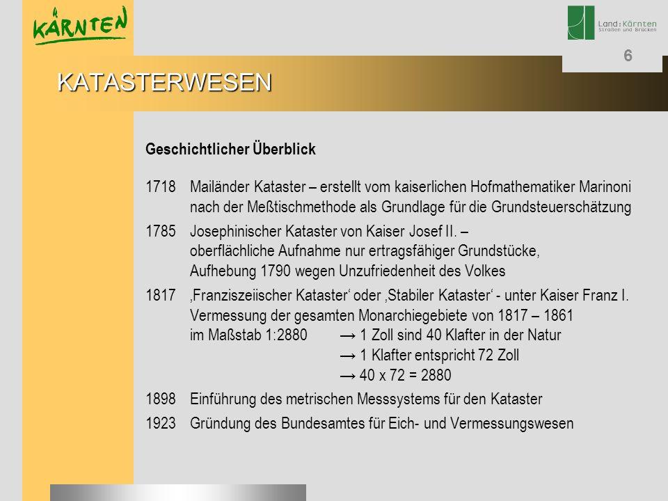 6 Geschichtlicher Überblick 1718Mailänder Kataster – erstellt vom kaiserlichen Hofmathematiker Marinoni nach der Meßtischmethode als Grundlage für die