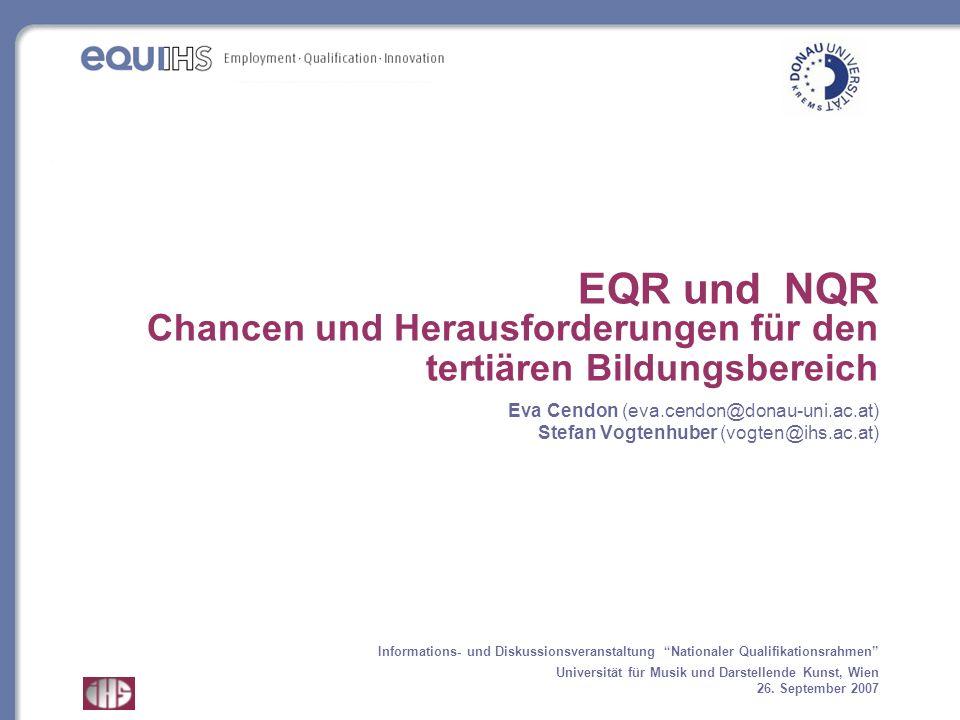 EQR und NQR Chancen und Herausforderungen für den tertiären Bildungsbereich Eva Cendon (eva.cendon@donau-uni.ac.at) Stefan Vogtenhuber (vogten@ihs.ac.