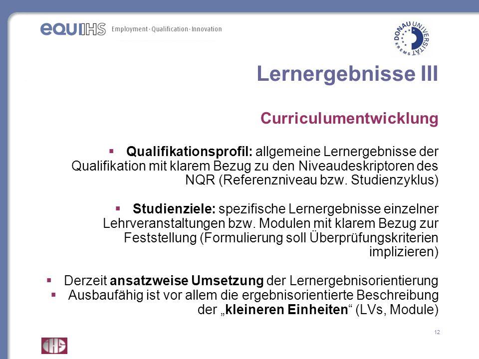 12 Lernergebnisse III Curriculumentwicklung Qualifikationsprofil: allgemeine Lernergebnisse der Qualifikation mit klarem Bezug zu den Niveaudeskriptor
