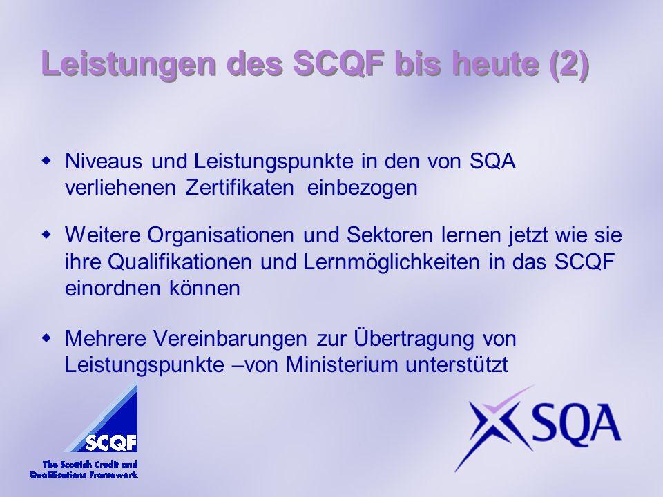 Leistungen des SCQF bis heute (2) Niveaus und Leistungspunkte in den von SQA verliehenen Zertifikaten einbezogen Weitere Organisationen und Sektoren lernen jetzt wie sie ihre Qualifikationen und Lernmöglichkeiten in das SCQF einordnen können Mehrere Vereinbarungen zur Übertragung von Leistungspunkte –von Ministerium unterstützt