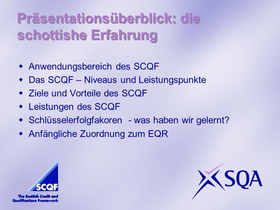 Anwendungsbereich des SCQF Das SCQF – Niveaus und Leistungspunkte Ziele und Vorteile des SCQF Leistungen des SCQF Schlüsselerfolgfakoren - was haben wir gelernt.