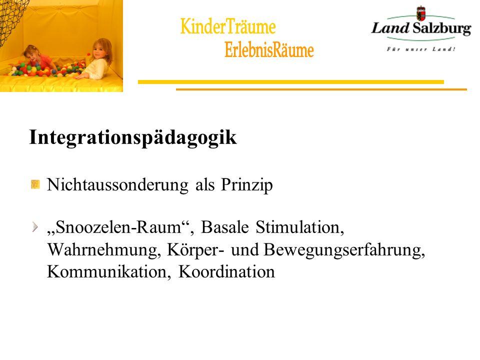 Integrationspädagogik Nichtaussonderung als Prinzip Snoozelen-Raum, Basale Stimulation, Wahrnehmung, Körper- und Bewegungserfahrung, Kommunikation, Ko