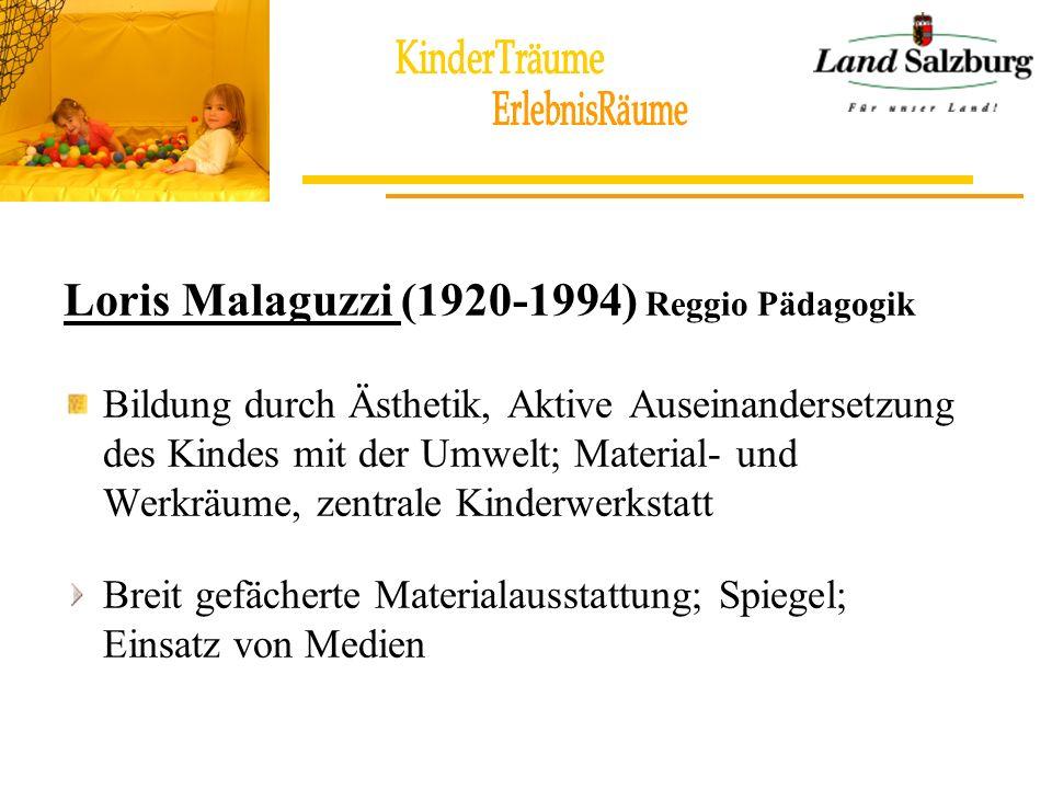 Loris Malaguzzi (1920-1994) Reggio Pädagogik Bildung durch Ästhetik, Aktive Auseinandersetzung des Kindes mit der Umwelt; Material- und Werkräume, zen