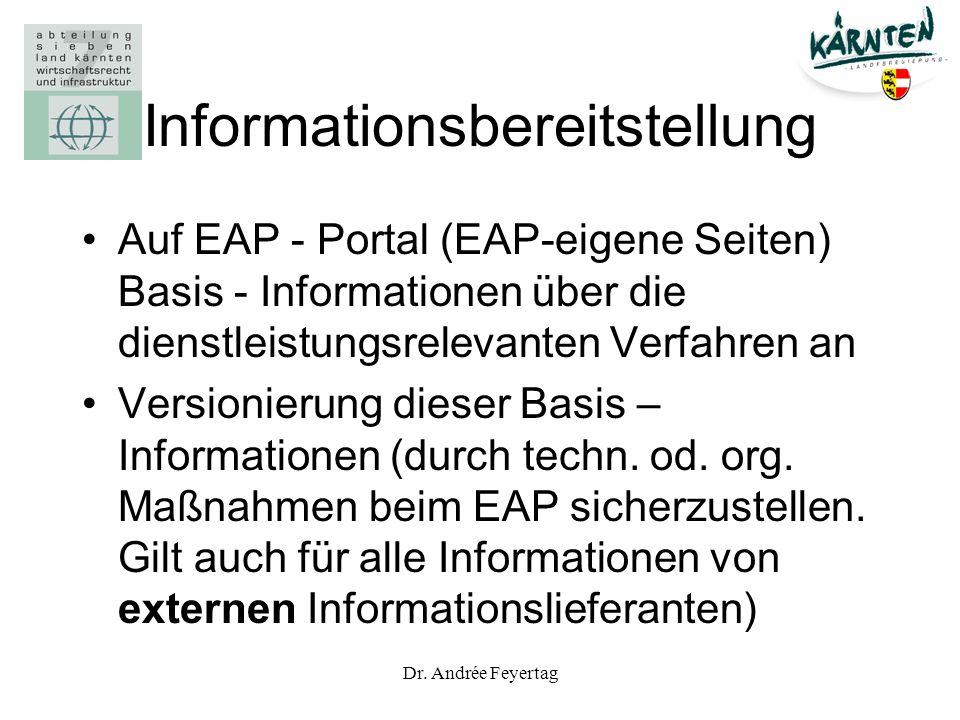 Dr. Andrée Feyertag Informationsbereitstellung Auf EAP - Portal (EAP-eigene Seiten) Basis - Informationen über die dienstleistungsrelevanten Verfahren