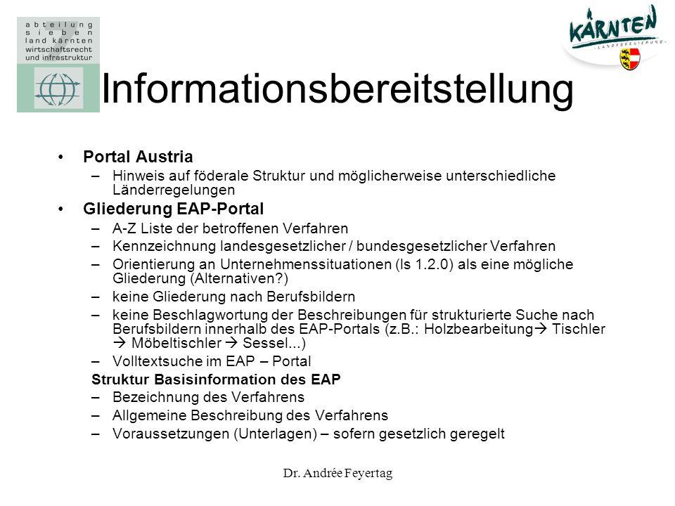 Dr. Andrée Feyertag Informationsbereitstellung Portal Austria –Hinweis auf föderale Struktur und möglicherweise unterschiedliche Länderregelungen Glie