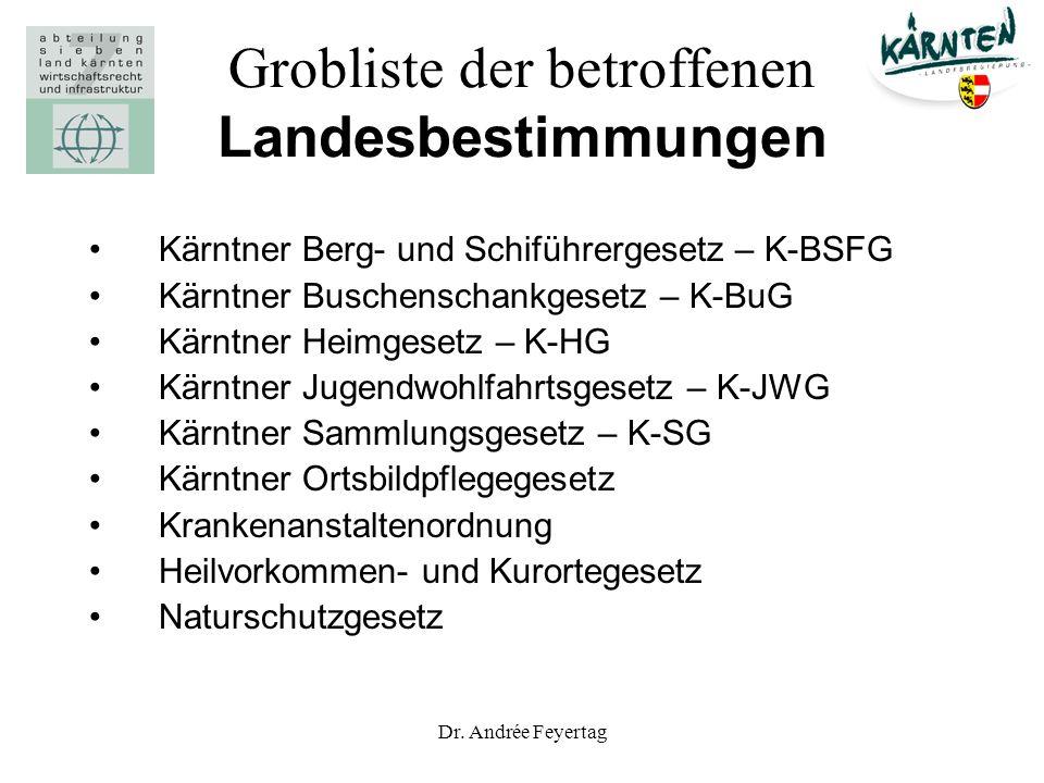 Dr. Andrée Feyertag Grobliste der betroffenen Landesbestimmungen Kärntner Berg- und Schiführergesetz – K-BSFG Kärntner Buschenschankgesetz – K-BuG Kär