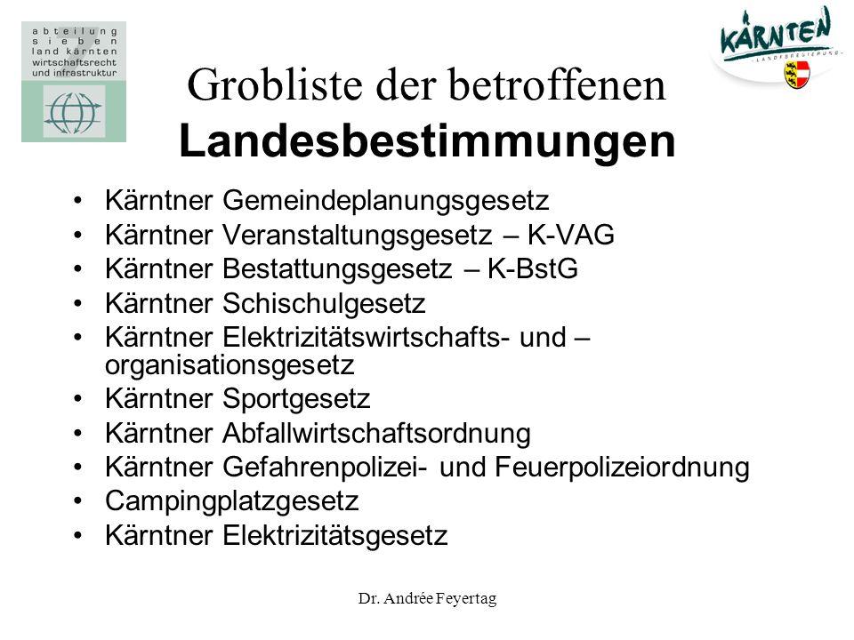Dr. Andrée Feyertag Grobliste der betroffenen Landesbestimmungen Kärntner Gemeindeplanungsgesetz Kärntner Veranstaltungsgesetz – K-VAG Kärntner Bestat
