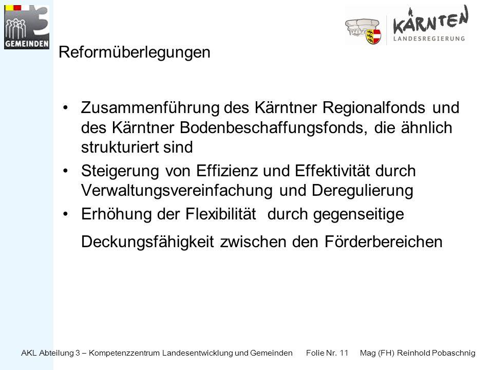AKL Abteilung 3 – Kompetenzzentrum Landesentwicklung und Gemeinden Folie Nr. 11 Mag (FH) Reinhold Pobaschnig Reformüberlegungen Zusammenführung des Kä