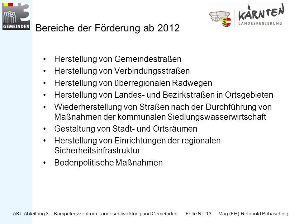 AKL Abteilung 3 – Kompetenzzentrum Landesentwicklung und Gemeinden Folie Nr. 13 Mag (FH) Reinhold Pobaschnig Bereiche der Förderung ab 2012 Herstellun