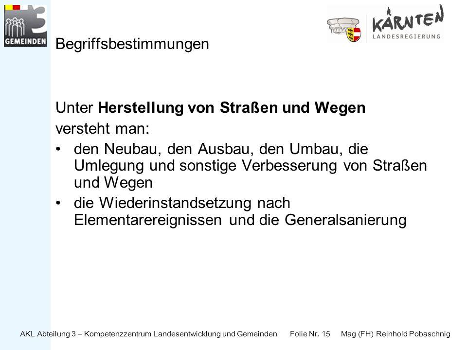 AKL Abteilung 3 – Kompetenzzentrum Landesentwicklung und Gemeinden Folie Nr. 15 Mag (FH) Reinhold Pobaschnig Begriffsbestimmungen Unter Herstellung vo