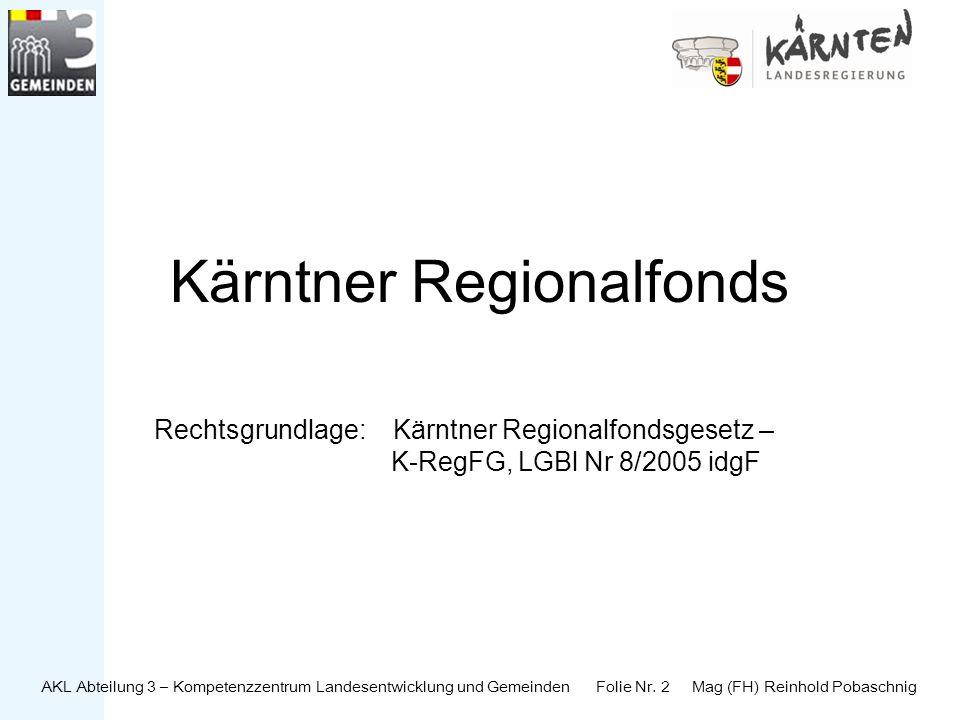 AKL Abteilung 3 – Kompetenzzentrum Landesentwicklung und Gemeinden Folie Nr. 2 Mag (FH) Reinhold Pobaschnig Kärntner Regionalfonds Rechtsgrundlage: Kä