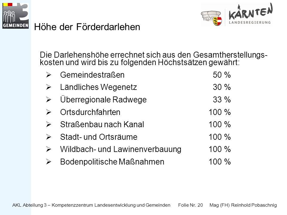 AKL Abteilung 3 – Kompetenzzentrum Landesentwicklung und Gemeinden Folie Nr. 20 Mag (FH) Reinhold Pobaschnig Höhe der Förderdarlehen Die Darlehenshöhe