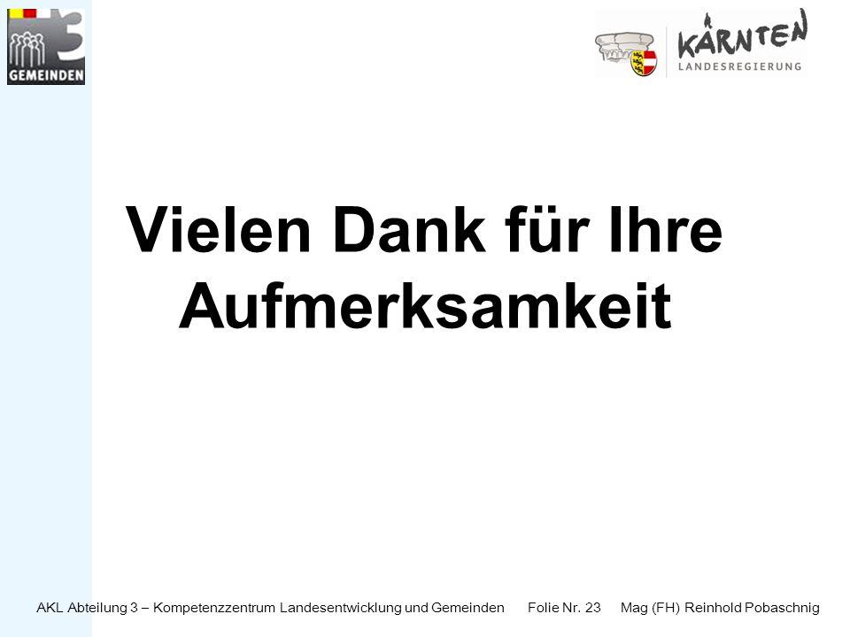 AKL Abteilung 3 – Kompetenzzentrum Landesentwicklung und Gemeinden Folie Nr. 23 Mag (FH) Reinhold Pobaschnig Vielen Dank für Ihre Aufmerksamkeit