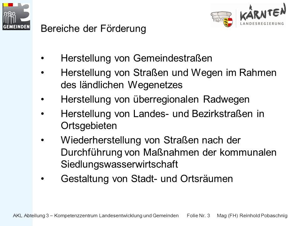 AKL Abteilung 3 – Kompetenzzentrum Landesentwicklung und Gemeinden Folie Nr. 3 Mag (FH) Reinhold Pobaschnig Bereiche der Förderung Herstellung von Gem