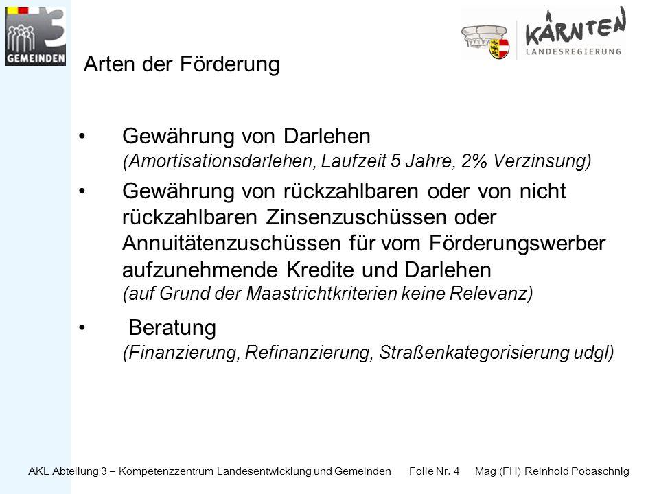 AKL Abteilung 3 – Kompetenzzentrum Landesentwicklung und Gemeinden Folie Nr. 4 Mag (FH) Reinhold Pobaschnig Arten der Förderung Gewährung von Darlehen