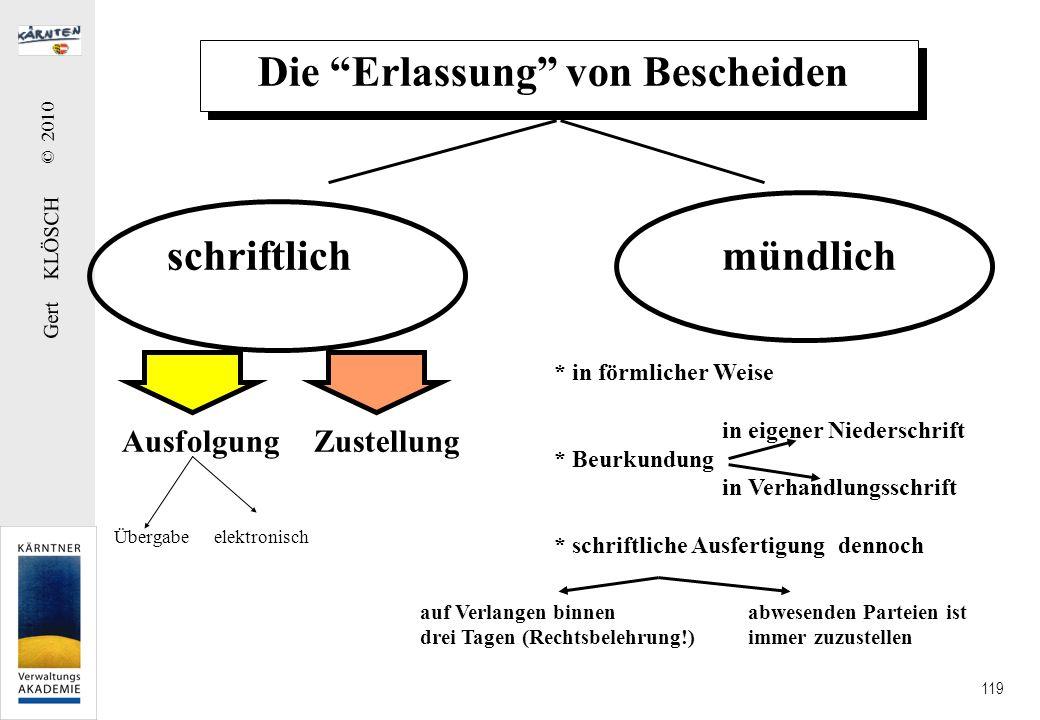 Gert KLÖSCH © 2010 119 Die Erlassung von Bescheiden schriftlichmündlich Zustellung * in förmlicher Weise in eigener Niederschrift * Beurkundung in Ver