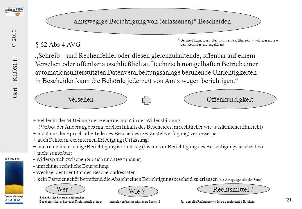Gert KLÖSCH © 2010 121 § 62 Abs 4 AVG Schreib – und Rechenfehler oder diesen gleichzuhaltende, offenbar auf einem Versehen oder offenbar ausschließlic