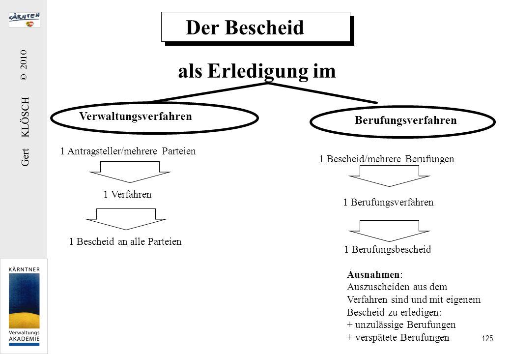 Gert KLÖSCH © 2010 125 Der Bescheid als Erledigung im Verwaltungsverfahren Berufungsverfahren 1 Antragsteller/mehrere Parteien 1 Verfahren 1 Bescheid