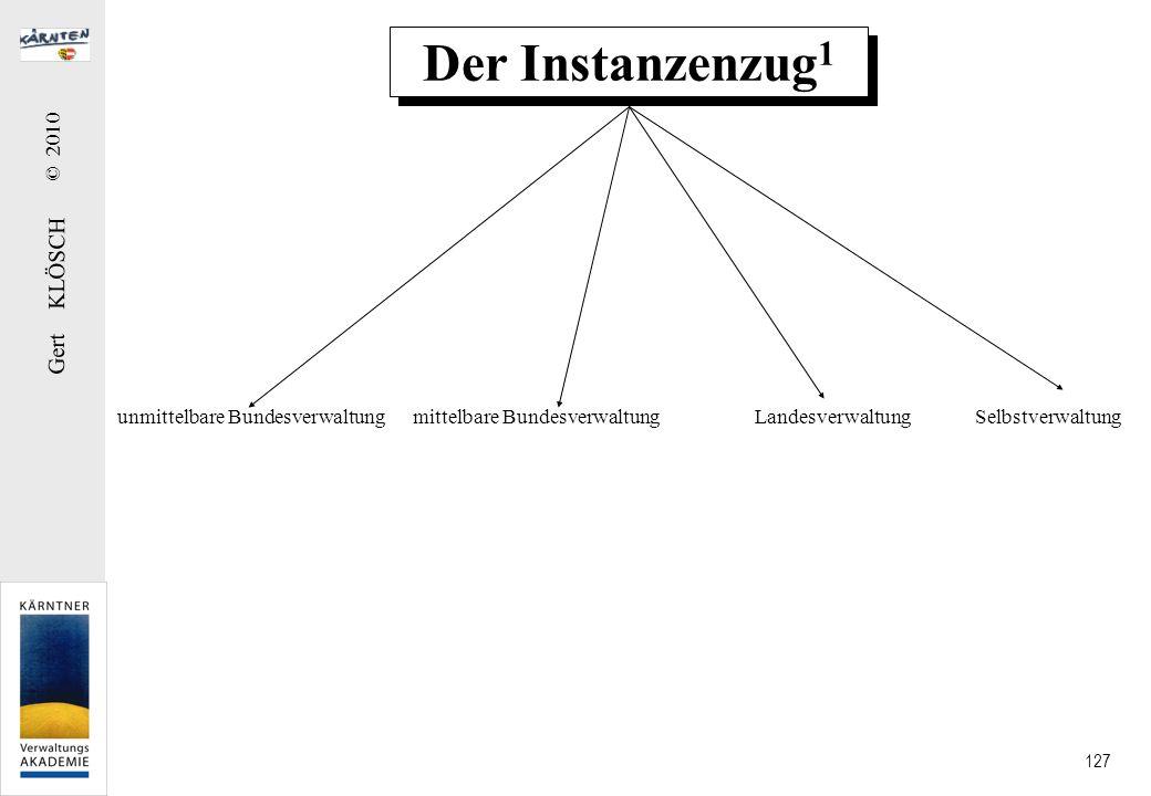 Gert KLÖSCH © 2010 127 Der Instanzenzug 1 unmittelbare Bundesverwaltung mittelbare Bundesverwaltung Landesverwaltung Selbstverwaltung