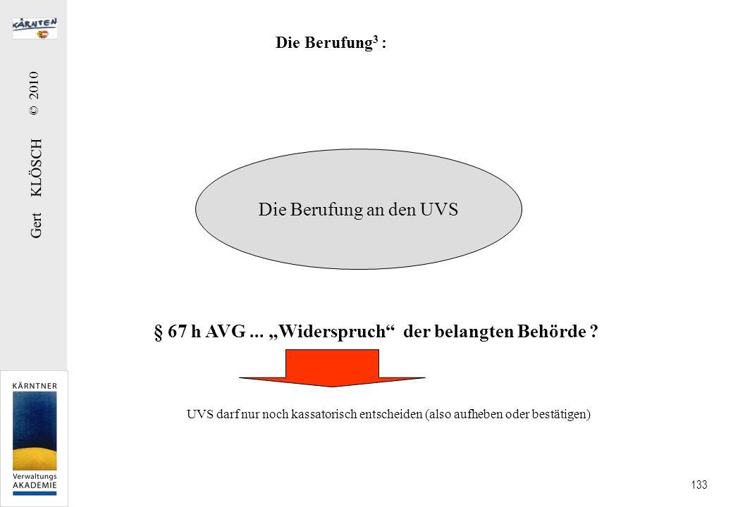 Gert KLÖSCH © 2010 133 Die Berufung 3 : Die Berufung an den UVS § 67 h AVG... Widerspruch der belangten Behörde ? UVS darf nur noch kassatorisch entsc