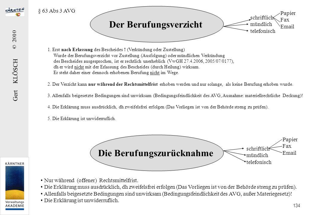 Gert KLÖSCH © 2010 134 Der Berufungsverzicht 1. Erst nach Erlassung des Bescheides ! (Verkündung oder Zustellung) Wurde der Berufungsverzicht vor Zust