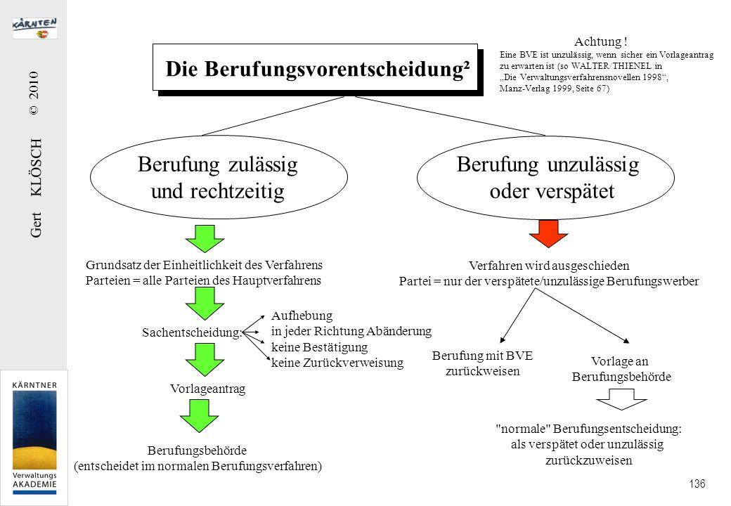 Gert KLÖSCH © 2010 136 Die Berufungsvorentscheidung² Berufung zulässig und rechtzeitig Berufung unzulässig oder verspätet Grundsatz der Einheitlichkei