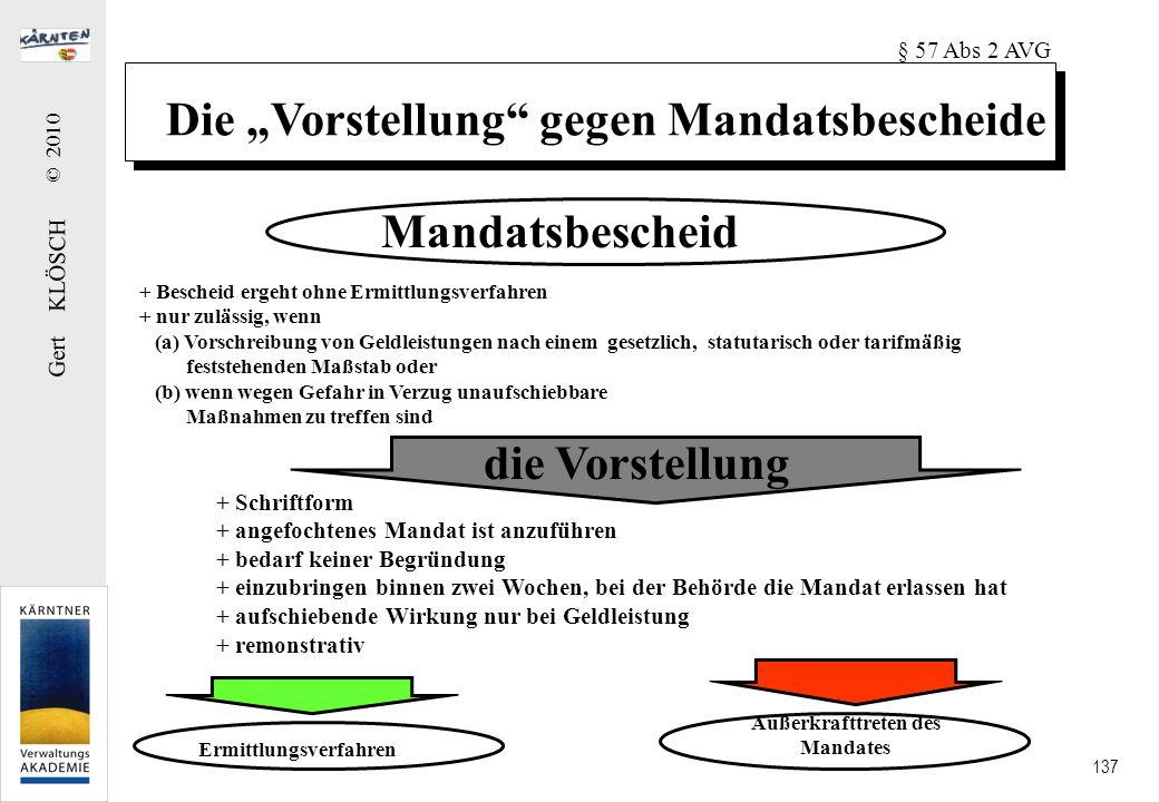 Gert KLÖSCH © 2010 137 Die Vorstellung gegen Mandatsbescheide Mandatsbescheid die Vorstellung + Bescheid ergeht ohne Ermittlungsverfahren + nur zuläss