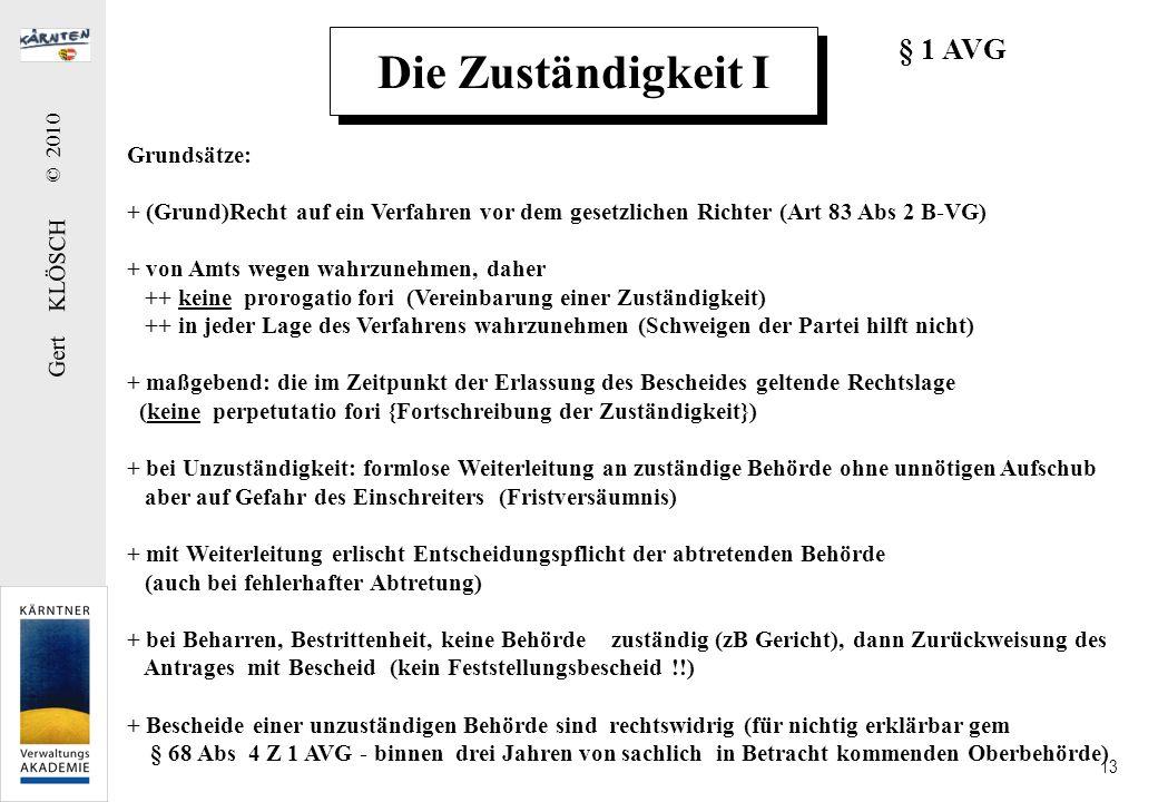 Gert KLÖSCH © 2010 13 Grundsätze: + (Grund)Recht auf ein Verfahren vor dem gesetzlichen Richter (Art 83 Abs 2 B-VG) + von Amts wegen wahrzunehmen, dah