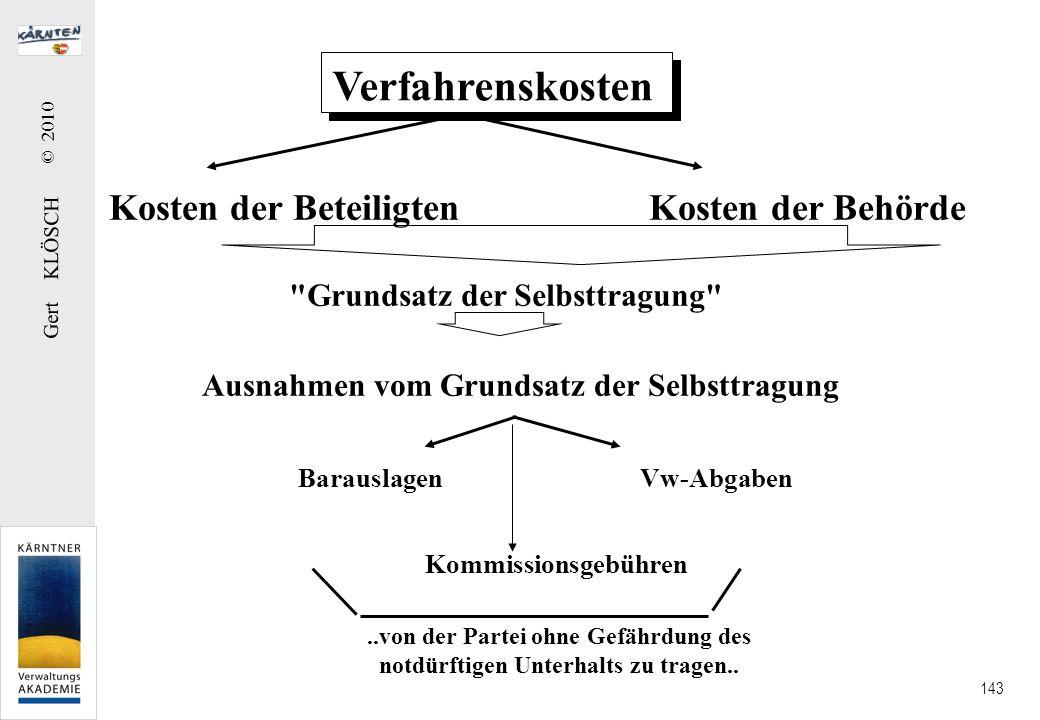 Gert KLÖSCH © 2010 143 Verfahrenskosten Kosten der Beteiligten Kosten der Behörde