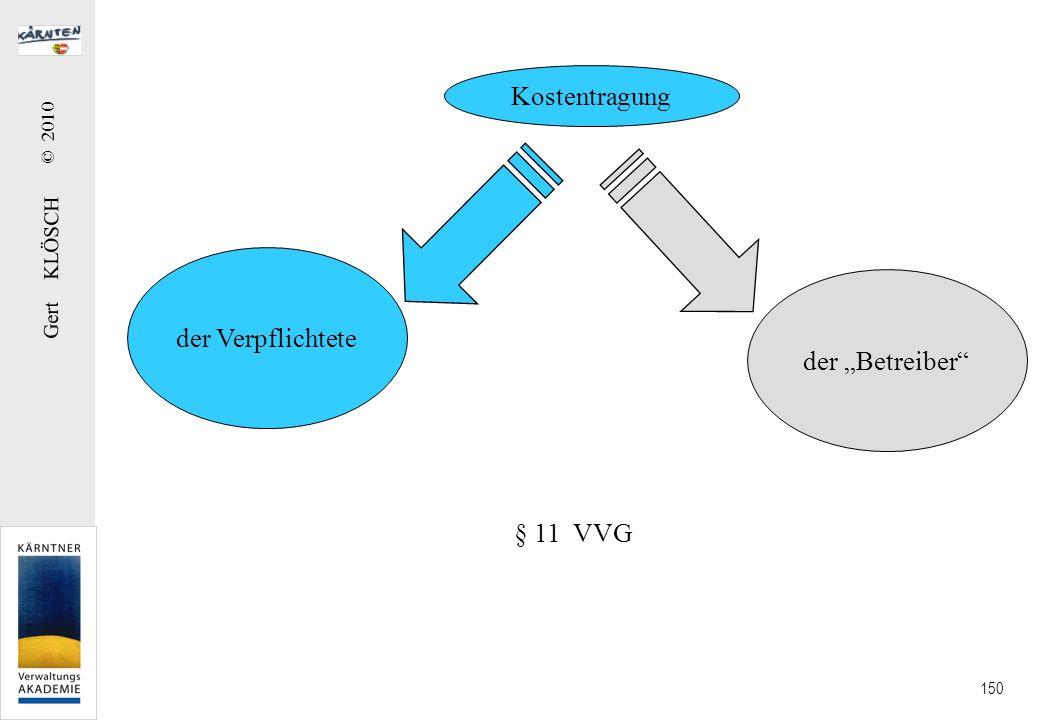 Gert KLÖSCH © 2010 150 Kostentragung der Verpflichtete der Betreiber § 11 VVG