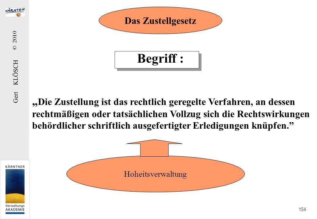 Gert KLÖSCH © 2010 154 Begriff : Die Zustellung ist das rechtlich geregelte Verfahren, an dessen rechtmäßigen oder tatsächlichen Vollzug sich die Rech