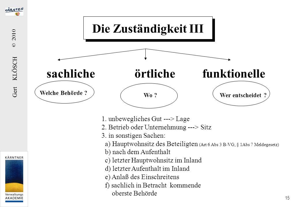 Gert KLÖSCH © 2010 15 Die Zuständigkeit III sachliche örtliche funktionelle Welche Behörde ? Wo ?Wer entscheidet ? 1. unbewegliches Gut ---> Lage 2. B