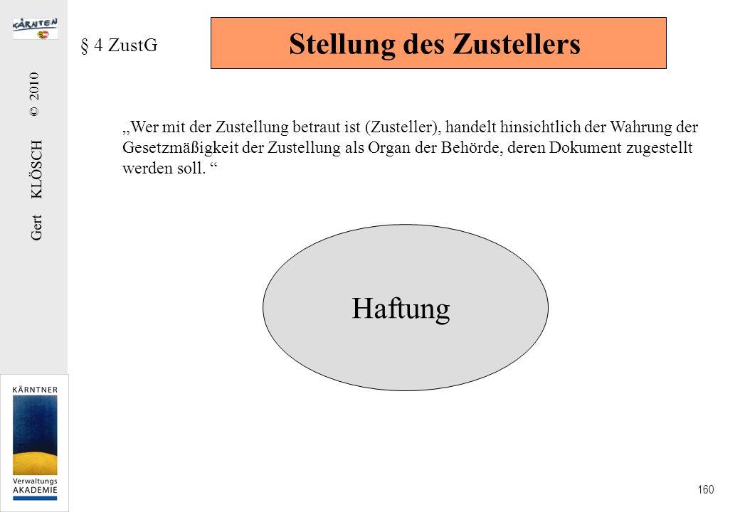 Gert KLÖSCH © 2010 160 Stellung des Zustellers § 4 ZustG Wer mit der Zustellung betraut ist (Zusteller), handelt hinsichtlich der Wahrung der Gesetzmä