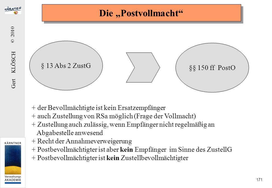 Gert KLÖSCH © 2010 171 Die Postvollmacht § 13 Abs 2 ZustG §§ 150 ff PostO + der Bevollmächtigte ist kein Ersatzempfänger + auch Zustellung von RSa mög