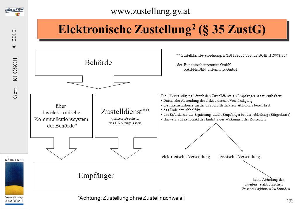 Gert KLÖSCH © 2010 192 Elektronische Zustellung 2 (§ 35 ZustG) Zustelldienst** (mittels Bescheid des BKA zugelassen) Behörde Empfänger Die Verständigu
