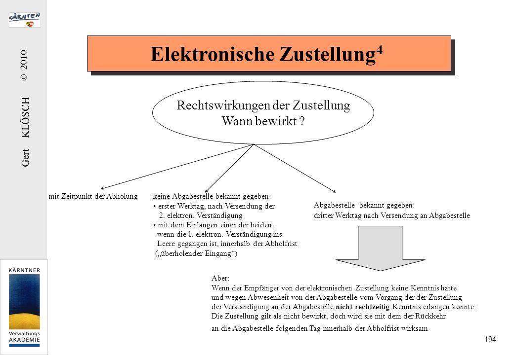 Gert KLÖSCH © 2010 194 Elektronische Zustellung 4 Rechtswirkungen der Zustellung Wann bewirkt ? mit Zeitpunkt der Abholung Aber: Wenn der Empfänger vo