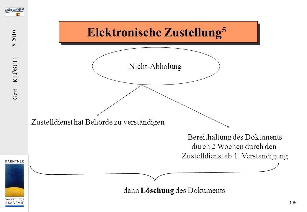 Gert KLÖSCH © 2010 195 Elektronische Zustellung 5 Nicht-Abholung Zustelldienst hat Behörde zu verständigen Bereithaltung des Dokuments durch 2 Wochen