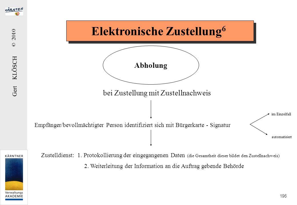 Gert KLÖSCH © 2010 196 Elektronische Zustellung 6 Abholung bei Zustellung mit Zustellnachweis Empfänger/bevollmächtigter Person identifiziert sich mit