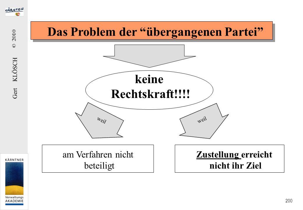 Gert KLÖSCH © 2010 200 Das Problem der übergangenen Partei keine Rechtskraft!!!! weil am Verfahren nicht beteiligt Zustellung erreicht nicht ihr Ziel