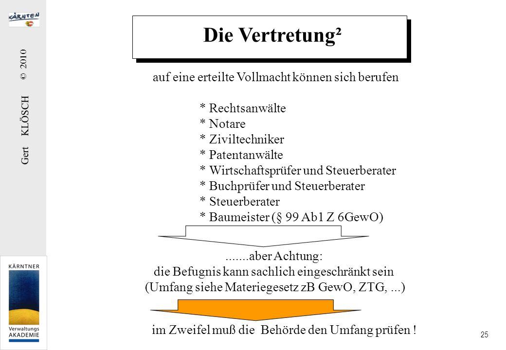 Gert KLÖSCH © 2010 25 Die Vertretung² auf eine erteilte Vollmacht können sich berufen * Rechtsanwälte * Notare * Ziviltechniker * Patentanwälte * Wirt