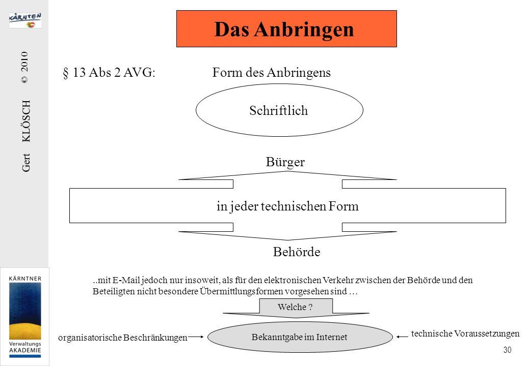 Gert KLÖSCH © 2010 30 § 13 Abs 2 AVG: Form des Anbringens Das Anbringen Schriftlich in jeder technischen Form Bürger Behörde..mit E-Mail jedoch nur in