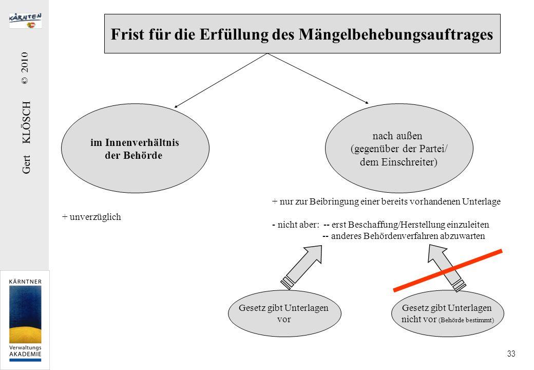 Gert KLÖSCH © 2010 33 Frist für die Erfüllung des Mängelbehebungsauftrages im Innenverhältnis der Behörde nach außen (gegenüber der Partei/ dem Einsch