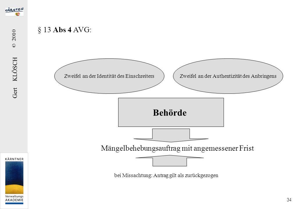 Gert KLÖSCH © 2010 34 § 13 Abs 4 AVG: Mängelbehebungsauftrag mit angemessener Frist Zweifel an der Identität des EinschreitersZweifel an der Authentiz